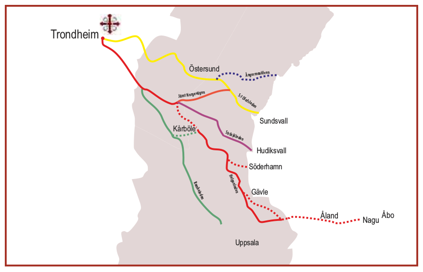 Map Mid-Sweden pilgrimage routes