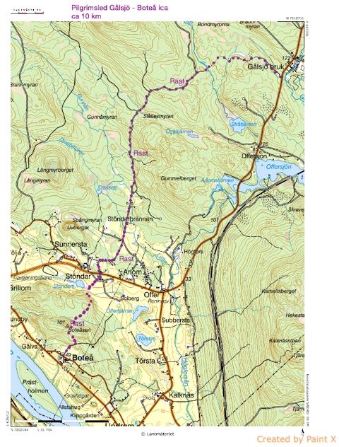 Karta över pilgrimsleden