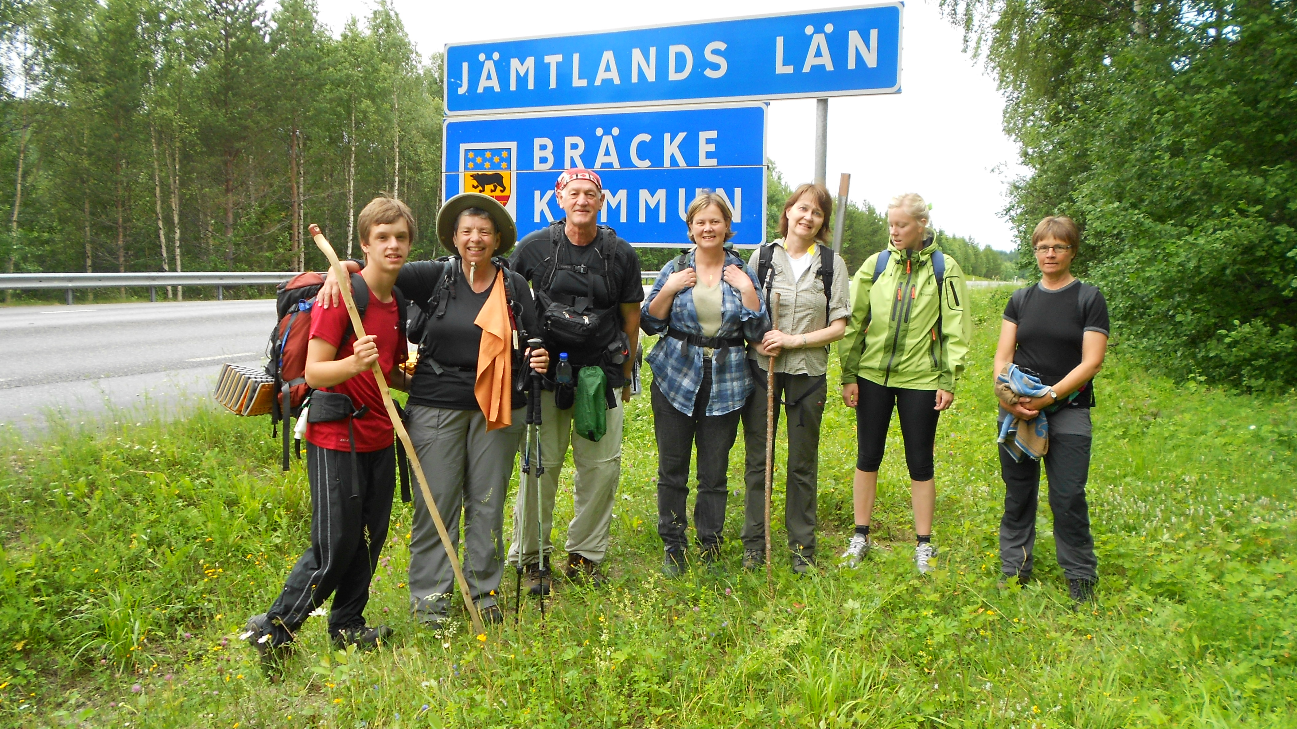 Framme vid Länsgränsen, pilgrimer som vandrat